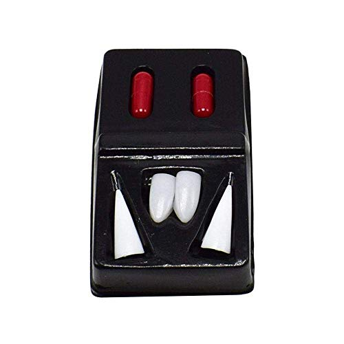 Luckygoo Vampire Teeth Fangs Dentures Cosplay Props Halloween Costume Props Party Favors 2 Pairs +2 Blood Pills ()