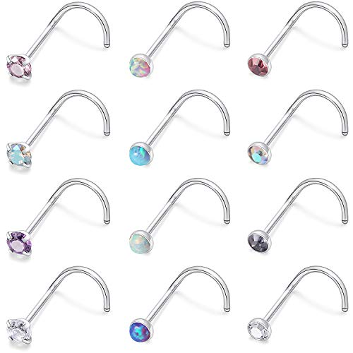 Kridzisw 12 Pcs 20 Gauge Screw Nose Rings Studs Surgical Steel Nose Nostril CZ Inlaid 2MM Ring Piercing Jewelry for Women Men Girl