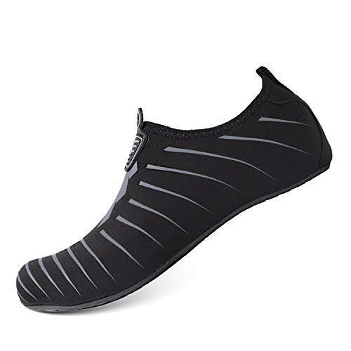 Heeta Water Sports Shoes for Women Men Quick Dry Aqua Socks Swim Barefoot Shoes for Beach Pool Surf Swim Yoga Black_B/ S