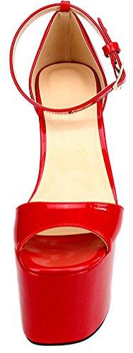 Abby F1 Piattaforma Delle Donne Sexy Cena High Heeled Discoteca Partito Croce Vestire Oversize Us9-17 Peep Toe Cinturino Alla Caviglia Pu Pantofole Pompe Rosso