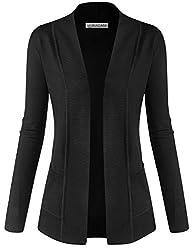 Biadani Women Classic Soft Long Sleeve Open Front Cardigan Sweater Black X Large