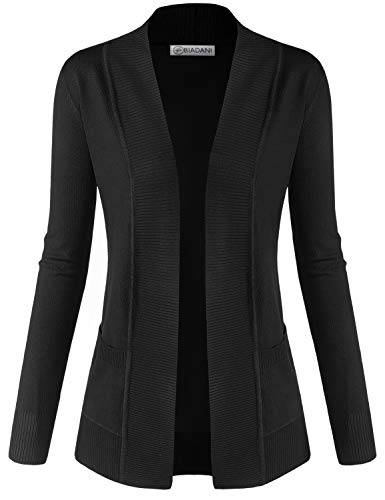 BIADANI Women Classic Soft Long Sleeve Open Front Cardigan Sweater Black ()