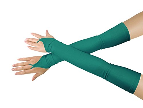 Shinningstar Girls' Boys' Adults' Stretchy Lycra Fingerless Over Elbow Cosplay Catsuit Opera Long Gloves (Turquoise)]()