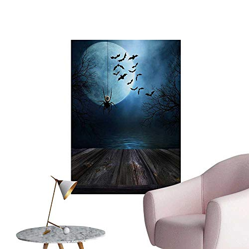 Anzhutwelve Halloween Photographic Wallpaper Misty Lake Scene Rusty Wooden Deck Spider Eyeball and Bats with Ominous SkylineBlue Brown W32 xL36 Wall Poster]()