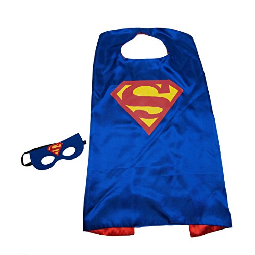 Blue Superman Kids Superhero Cape and Mask Set (Make Believe Fancy Dress)