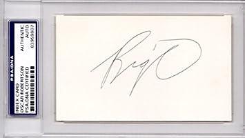 17d8cbfdf Oscar Robertson Autographed Signed Cincinnati Royals - Milwaukee Bucks 3x5  inch Index Card - 1971 NBA