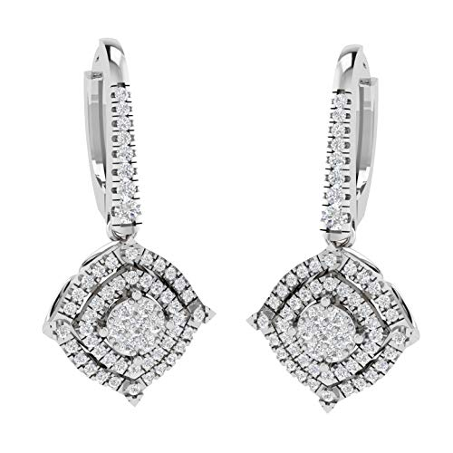 4th of July jewelry 100% Real Diamond Earrings Luxury 1/2ct Lab Grown Diamond Drop & Dangle Earrings Lab Created SI-GH Quality 10K Real Diamond Earrings White Gold 4t of July Jewelry Gifts for Women ()