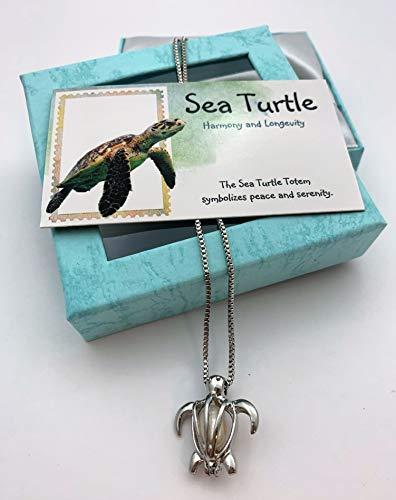 Smiling Wisdom - Sea Turtle Totem Animal Girls Necklace Gift Set - Totem Spirit Animal Guide Turtle Cage Pearl Necklace, Turtle Card - Gifts for Girls,Tween, Teen, Woman - - Totem Animal Turtle