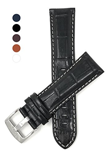 Black Glossy Leather Watch Band (Extra Long XL 20mm Black Alligator Sty Leather Watch Band, White Stitch, Glossy)