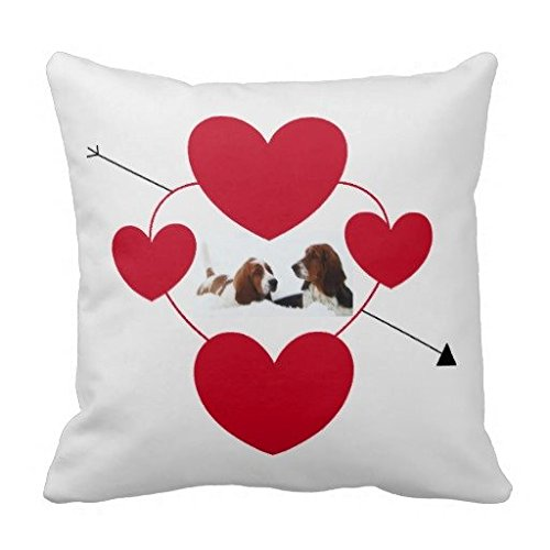 Cute Valentines Day Pillow Case W Basset Hounds (Sofas Basset)