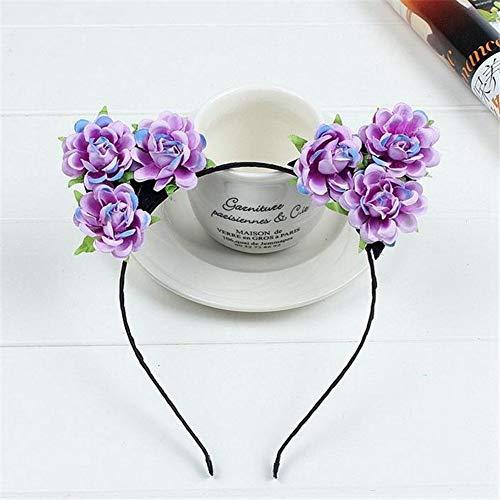 - White Rose Flower Cat Ears Hairbands Girls Flower Headband Kids Handmade Cloth Floral Hair Bands