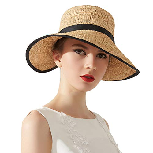 Taylormia Womens 100% Raffia Straw Hat Hand-Woven Foldable Wide Brim Beach Sun Hat Beige