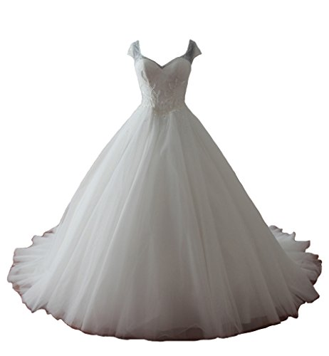 Ubridal Sweetheart Cap Sleeve Beaded Pearls Appliques Chapel Train Wedding Dresses Ivory