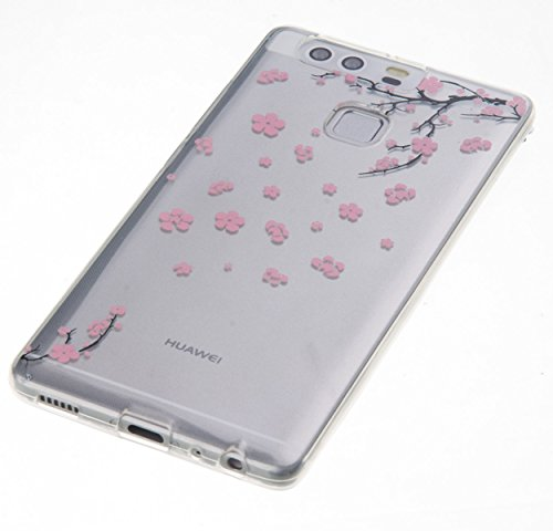 Huawei P9móvil, Huawei P9funda de silicona, jawseu Schön Henna Flores fina Soft Gel silicona Funda Cover Fundas transparente kirstall transparente transparente suave flexible TPU Goma Rubber Carcasa Pink Blumen