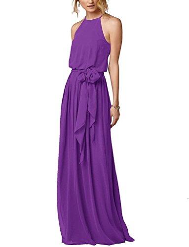 Simple Purple Gown Long Beach Flowy Halter Boho Amore Dress Bridal Bridesmaid pw4nqS