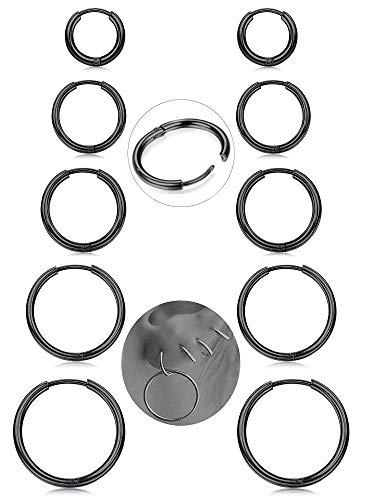 Milacolato 5Pairs Stainless Steel Basic Endless Hoop Earrings for Mens Womens Cartilage Piercing Nose Tongue Body Ring 8-16mm Black