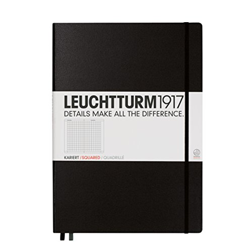Kikkerland Leuchtturm1917 Master Classic A4+ Notebook, Squared Pages, Black