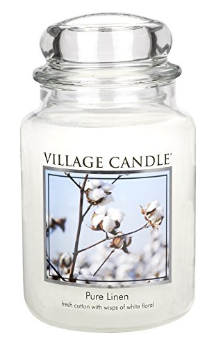 Village Candle Pure Linen 26 oz Glass Jar Scented Candle, Large (Pure Linen)