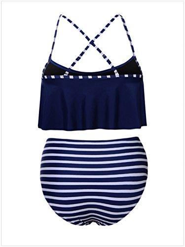 Due Donne Bagno Costume Ragazze Pezzi Bagno Imbottito Set Swimsuit Up Blu Nero Da da Push Costumi Blu Rosa Bikini Reggiseno Striscia Spiaggia Monokini anWXC