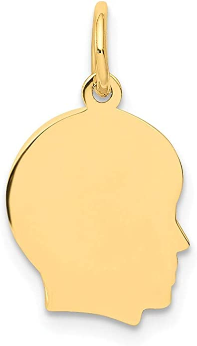 14k Yellow Gold Solid Engravable Plain Polished Large Girl Charm
