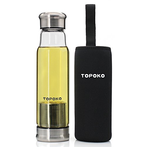 TOPOKO 18.5 Oz Glass Tea Infuser Travel Mug with Strainer and Nylon Sleeve. Borosilicate Glass Bottle for Loose Leaf Tea, Cold Brew Coffee, Fruit. Tea Cup with Stainless Steel Mesh Filter. (Black)