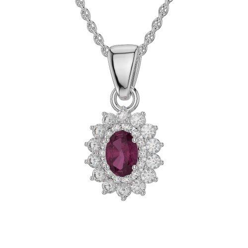 Or blanc 18carats 1CT G-H/VS sertie de diamants Forme ovale Rubis et colliers Agdnc-1073