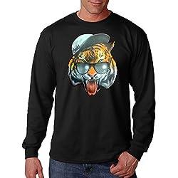 Men's Fresh Snapback Tiger Black Long Sleeve T-Shirt Large Black