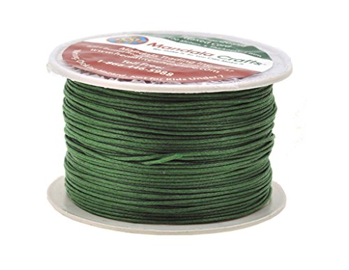 Mandala Crafts 1mm 109 Yards Jewelry Making Beading Crafting Macramé Waxed Cotton Cord Thread (Green)