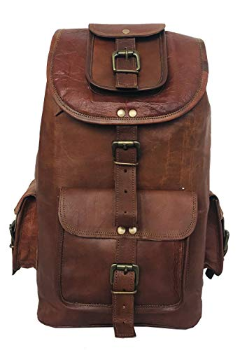 cuero 22 Genuine Large Leather Retro Rucksack Backpack College Bag,School Picnic Bag Travel