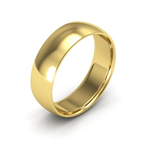 18K Yellow Gold men's and women's plain wedding bands 6mm comfort-fit light, ()