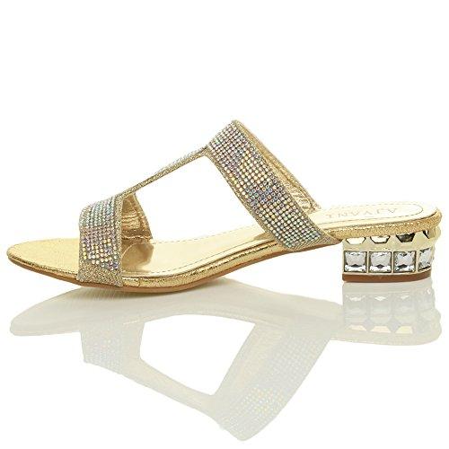 Rhinestone Heel Women Sandals Block Gold Low Ajvani Size WBqpFZF