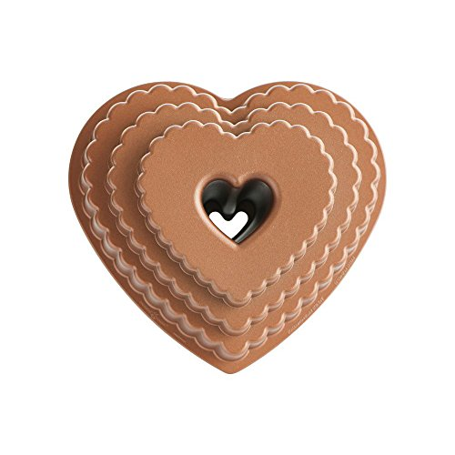 Nordic Ware 89937 Cast Bakeware Tiered Heart Bundt Bronze ()