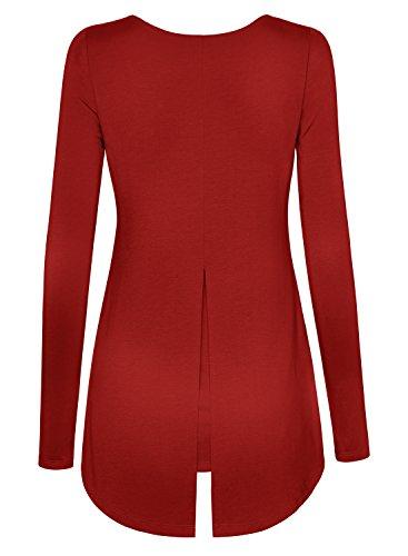DJT Mujeres Camiseta Top con Dobladillo Asimetrico Rojo
