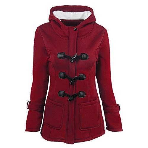 ZFFde Invierno Abrigo de abrigo de invierno con capucha y hebilla de cuerno (Color : Bordeaux red, tamaño : 5XL)