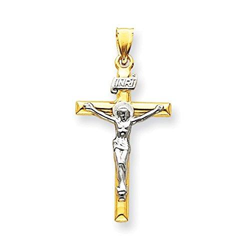 Or bicolore 14carats INRI crucifix Pendentif-Dimensions 31x 20mm