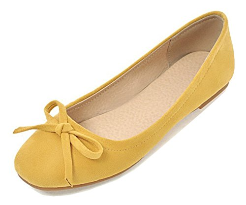 Aisun Women's Cute Comfy Low Cut Square Toe Driving Cars Ballet Slip On Flats Shoes with Bow (Yellow, 10.5 B(M) US)