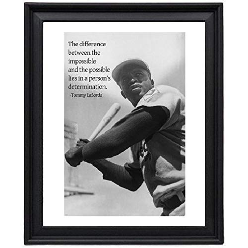 Jackie Robinson Poster LaSorda Quote DETERMINATION baseball Picture Frame - Poster - Print