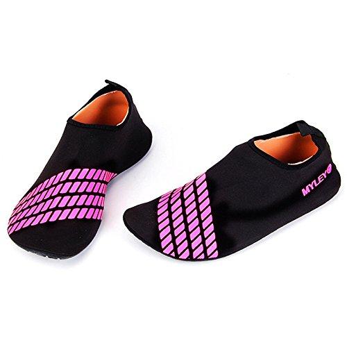 YiWa rápido seco buceo calcetines antideslizante transpirable Barefoot suave zapatos de agua playa calcetines para buceo surf natación playa Yoga azul