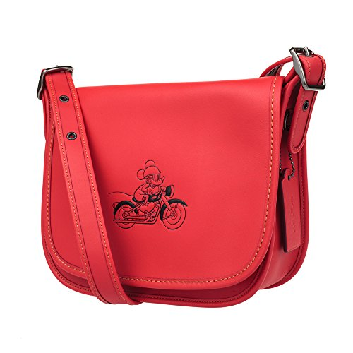 Patricia Glove with Saddle Mickey Calf Bright MICKEY 23 Leather Red in COACH qBwZXH5