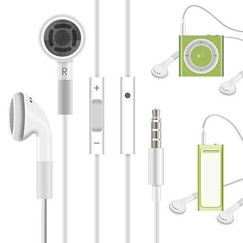 Jelanry 3.5mm Earphone Earbuds Headphones with Remote for Shuffle 2 3 4 5 6, Touch 2G 3G 4G 5G Classic nano6 - White (Your Earbuds Ipod Shuffle Ipod)