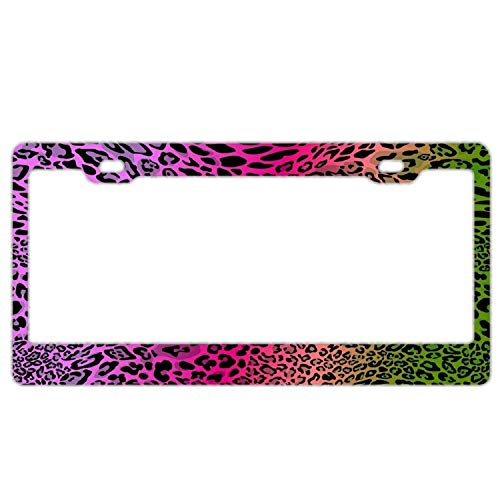 YEX Abstract Cheetah Colorful License Plate Frame Novelty Car Tag Frame Auto License Plate Holder 12