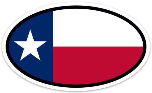 Backwoods Barnaby Texas State Flag Vinyl Decal - Euro Oval Car Self-Adhesive Bumper Sticker for windows, trucks, cars, and laptops