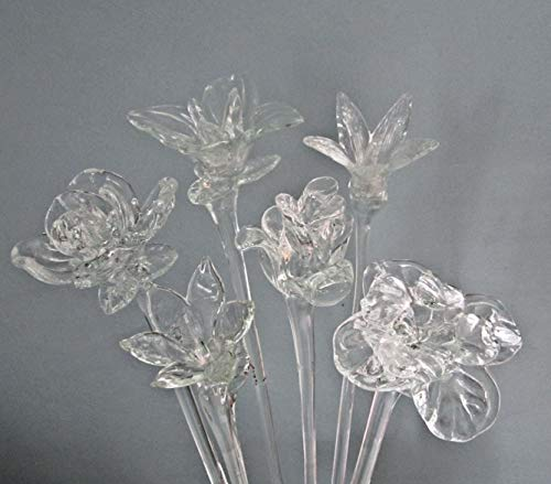 AFT Clear Glass Flowers Bouquet 20 Inch Set of 6