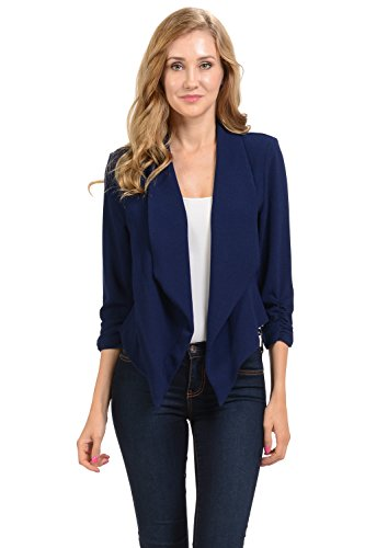 Auliné Collection Womens 3/4 Sleeve Casual Work Lined Open Front Cardigan Blazer Navy Blue XL