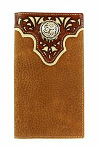 Ariat Men's Tope Inlay Top Circle Rodeo Western Wallet, Tan, One Size