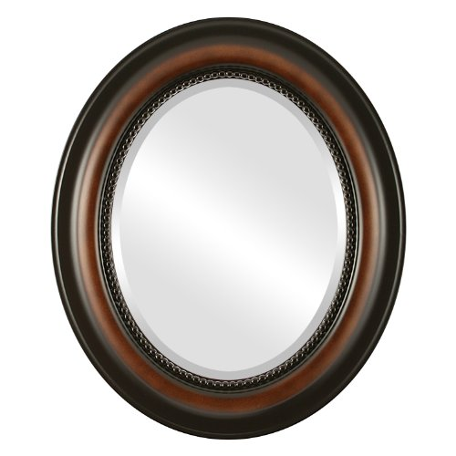Oval Wall Mirror for Home Decor, Bedroom, Living Room, Bathroom | Decorative Framed Beveled Mirror | Heritage Style - Walnut - 17x21 Inch Outside Dimensions