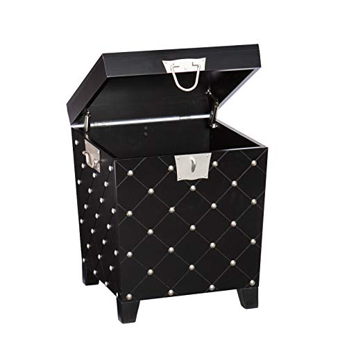 Rabinyod Bulan Black Pyramid Trunk Storage END Table with Satin Silver Accent