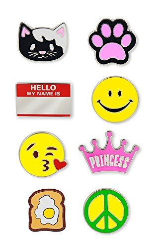 Just For Laughs Pincredibles Enamel Pins 8-pack (Kitty, Kitty Paw, Princess Crown, Blow a Kiss Emoji, Smiling Face, Hello My Name Is Nametag, Peace Sign, Egg and Toast)