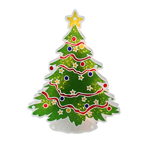 (Sienna Lighted Holographic Christmas Tree Window Silhouette Decoration, 12.5