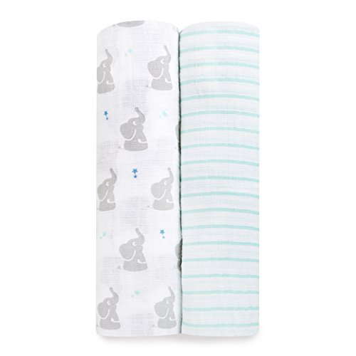 aden by aden + anais Swaddle Baby Blanket, 100% Cotton Muslin, Large 44 X 44 inch, 2 Pack, Baby Star - Elephant